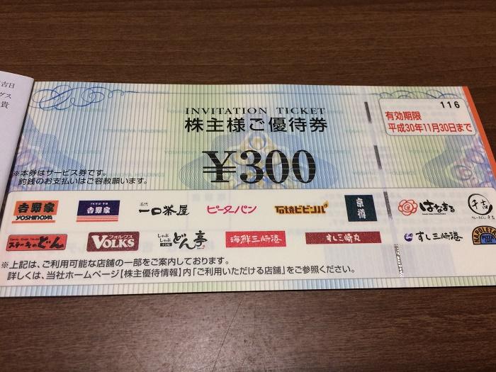 【株主優待】吉野家から優待券が届きました