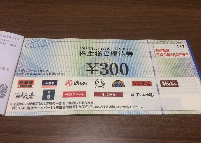 【株主優待】吉野家から優待券が届きました(4回目)