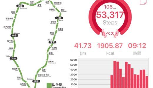 山手線の徒歩1周に挑戦してきた【53,317歩・41㎞・9時間】